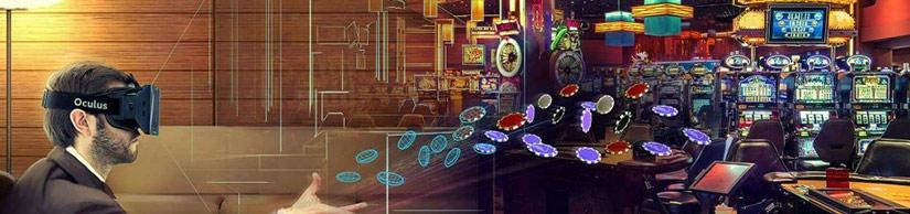 Virtual Reality Gambling Man with VR Headset Casino